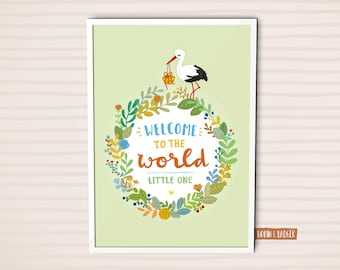 Baby Nursery | Poster Illustration Art Print | Welcome to the world little one