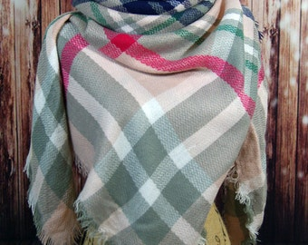 WINTER MARKDOWN Light Pink/Blushing Beige Blanket Scarf, Tartan Scarf, Plaid Scarf, Zara Scarf, Oversized Scarf, Shawl, Wrap