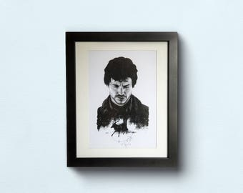 Hannibal Art Print - Will Graham Portrait Illustration - A5 Recycled Board