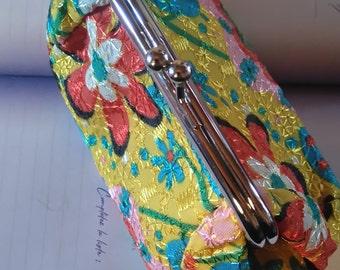 small wallet retro in bright floral fabric