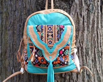 Leather Rucksack, Leather Backpack, Boho Backpack with vintage Jati Embroidery One of a Kind and made with Love