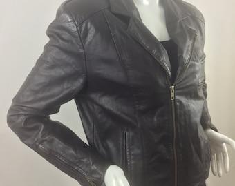 Vintage 1990s Distressed Leather Motorcycle/Bikers Jacket-Dark Brown-Size Large