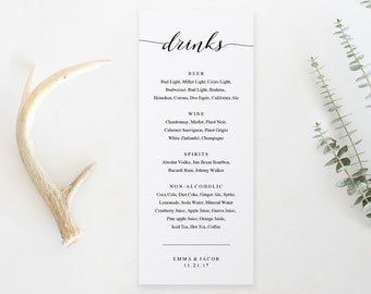 drink menu template