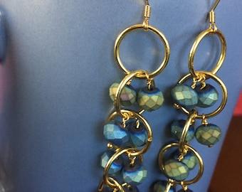 Blue & Green Beaded Gold Dangles