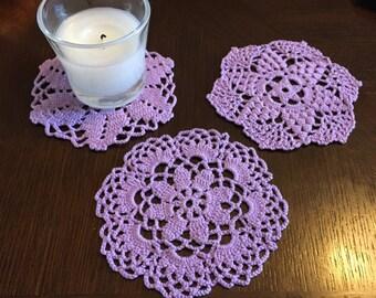 Lavender crochet coaster