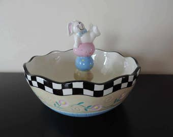 PLATE - Bowl - rabbit with eggs - Easter-