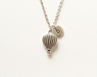 Hot Air Balloon Necklace, Hot Air Balloon Charm, Holiday Gift, Initial Necklace, Custom Charm Jewelry, Personalize Necklace (P9)
