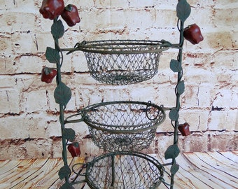 Red Apple / 3-Tier Plate Holder w. Wire Baskets / Serving Stand / Buffet Rack Serveware / Wrought Iron/ Afternoon Tea / Tea Party