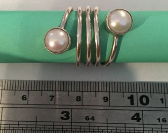 Sterling Silver Twisted 2 Pearl Cabochon Ring
