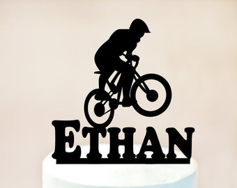 Mountain Biking Cake Topper,Male Bicycle Rider,Bike Cake Topper,bicycle Cake Topper,Bike Birthday Party,bicycle Decoration,Cake Topper 1057