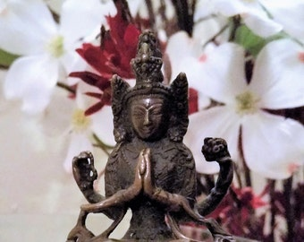 Tibetan Bronze Statue of Chenrezig - Bodhisattva - Buddah - Quan Yin - Kwanyin - Guanyin - Quanyin - Four Armed Avalokiteshvara