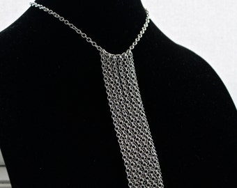 Fringe Necklace, Chain Necklace,  with Stainless Steel Chains