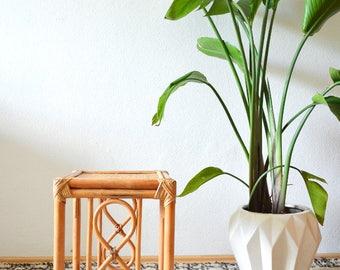 Vintage bamboo & rattan table end table stool boho bohemian home wicker bamboo