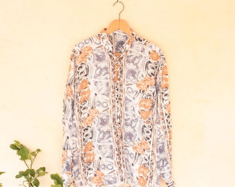 Vintage Floral Long Sleeved Shirt - Size  Medium