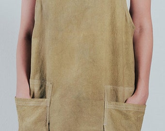 Apron,Jumper,Vest,Tunic,Smock,Over-wear,Hand Dyed,Natural fibers,Pre-washed,100%Cotton