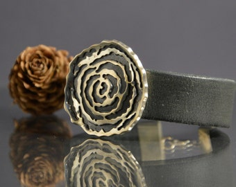 Silver, leather bracelet, jewelry decoration, silver flower.