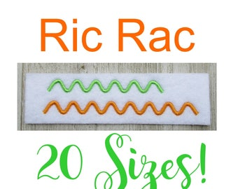 Rick Rack, Ric Rac Embroidery Design, Filled Stitch, Machine Embroidery Design, 20 Sizes