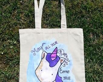 Kawaii Unicorn, Unicorn Bag, Make All Your Dreams Come True, Unicorn Tote Bag, Unicorn Clothing, Watercolor Art, Unicorn Quotes, Unicornio