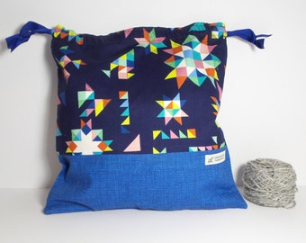 Quilt print bag,  Knitting Bag, Crochet Bag, Yarn Bag,  Project Bag, Sock knitting bag