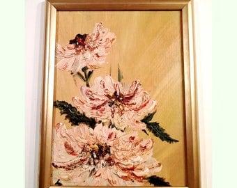 Vintage Original Unsigned Impasto Oil Floral Flower Painting
