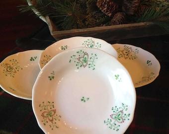 Vintage Irish Dinner Bowls,  Shamrock Small Dessert Bowls, Irish Hand Painted Green Clover Bowls, Irish Dinnerware,  St. Patrick's Day