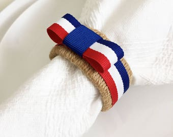 Red White and Blue Napkin Rings - 4th of July Party Decor - Independence Day - Patriotic Table Decor - American Flag - Rustic Napkin Rings