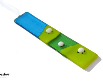 Sheep Suncatcher - Handmade Fused Glass Hanging  - Mother's Day Gift - Green & Blue Glass - Fused Glass Sheep