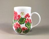 handmade pottery mug, porcelain teacup, hand painted geranium design, hand made coffee mug, geraniums, red, green, garden party, summertime