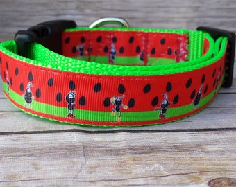 Watermelon Collar / Ant Dog Collar / Food Dog Collar / Dog Collar / Fun Dog Collar / Watermelon Leash / Summer Dog Collar / Summer Leash