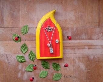 Handmade Fairy Door - Yellow Daffodil Fairy | Wood Fairy Door | Unique Gift | Pretend Play