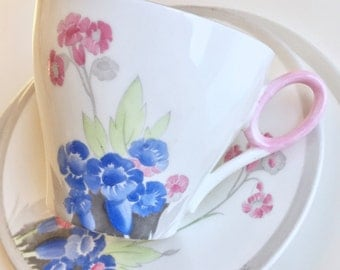 "Rare vintage Art Deco tea set, 1934 Shelley ""Polyanthus"", fine bone china"