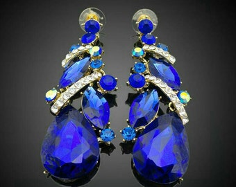 Blue Chandelier Earrings With Semiprecious Stones 3 inches Length and Rhinestones