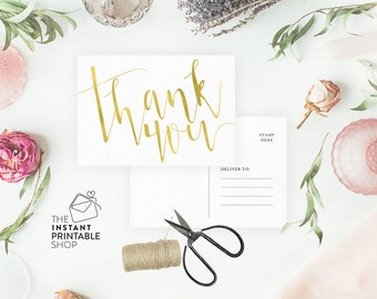 Gold thank you cards wedding, Printable thank you cards, Thank you postcard, Gold wedding stationery, Thankyou cards, Wedding postcards