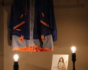 90's vintage jacket hooded jacket patchwork Plaid of orange blue Ellenbogenpads