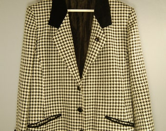 True vintage of 80's jacket Blazer 40 42 Houndstooth pattern faucet pattern lady classic