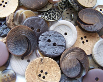 80 Recycled Brown Toned Buttons