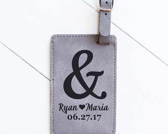 Honeymoon Luggage Tag Wedding Gift, Personalized Luggage Tag, Ampersand and Couples Names, Travel Gifts for Women, Men, For the Couple LT15