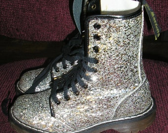 Vintage 80s Silver glitter Doc Marten boots size 2 UK 4 US MINT sequin Made in England glam