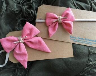 Red chambray sailor bow, Baby Headbands, Baby Bow Headband, Baby Girl Headbands, toddler hair clip, Nylon Headband, Fabric Hair Bows, bows
