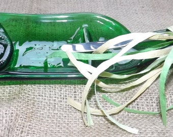 Melted Wine Bottle Glass Serving Dish with Stainless Steel Spreader
