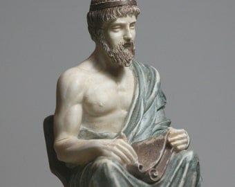 Greek Philosopher PLATO Alabaster Statue Sculpture Athens Academy 6.7in - 17cm **Free Shipping & Free tracking Number**