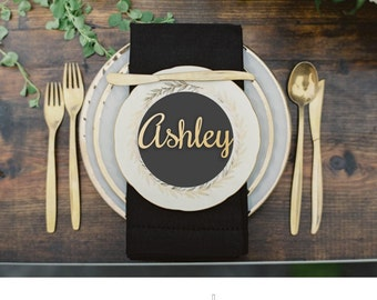 """Name Place Setting - Wood Place Name -Wedding Place Setting - Gold Place Name-Please Enter your phone number in the """"NOTE to the seller"""""""