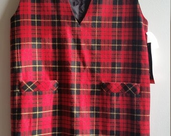 40% OFF SALE - Vintage Wool Blend Tartan Dress - Women's Size 14 - New With Tags