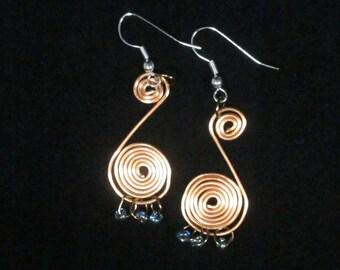 Copper Spiral Earring