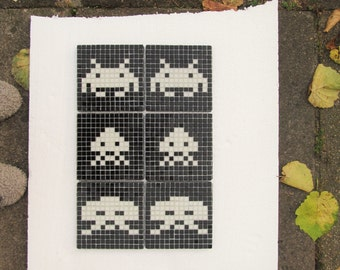Original Space Invaders mosaic wall art; set of three; vintage arcade game; vintage video game; glass mosaic; wall art.