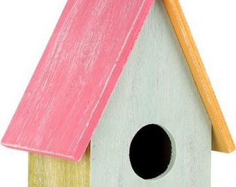 Coloful wooden bird house decorative functional bird box