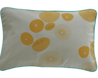 Cushion cover HAARKLAMMER, light grey / mustard, 60 x 40 cm (without filling)