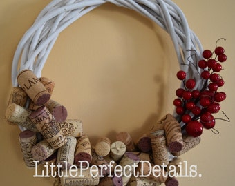 White, Red Wine Cork Christmas Wreath