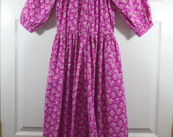 "Vintage 1980s Laura Ashley Cotton Dress, Modest Ruffled Neck, Puff Sleeves, Raspberry Pink Small Flowers, Full Skirt, 39"" Bust, 30"" Waist"