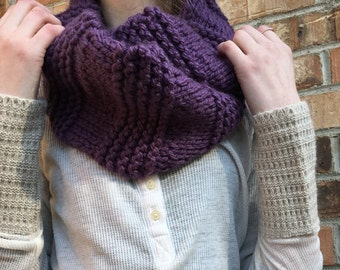 Infinity Scarf, Alternating Knit + Stockinette, Color Options, Shown in Purple